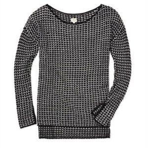 Aritzia Wilfred Papinou Tunic Sweater Black & White Open Knit XXS